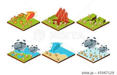 Natural disasters set, landslide, earthquake, hurricane, flood, thunderstorm, tsunami vector 45067129