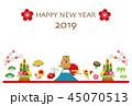 2019年 亥年 年賀状 テンプレート 45070513