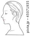 美容 顔 横顔のイラスト 45071935