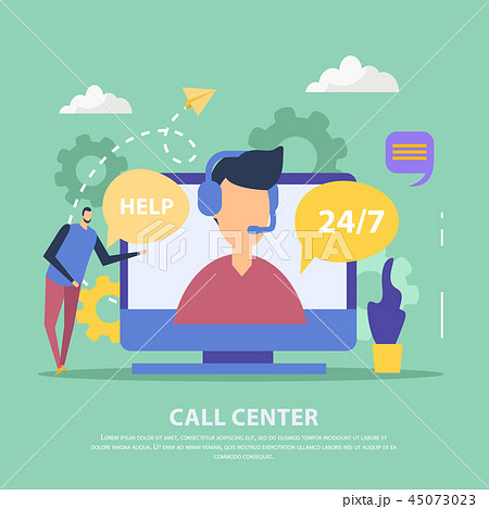Call Center Flat Background 45073023