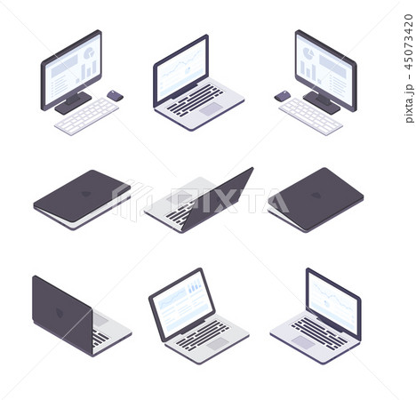 Computer technology - set of modern vector isometric elements 45073420