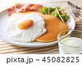 パンケーキ 目玉焼き 朝食の写真 45082825