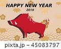 年賀状素材 亥年-紋・青海波- 45083797