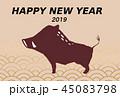 年賀状素材 亥年-青海波- 45083798