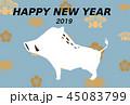 年賀状素材 亥年-紋- 45083799