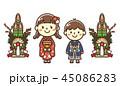 正月 着物 子供のイラスト 45086283