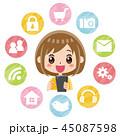 スマホ アプリ 女性のイラスト 45087598