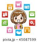 スマホ アプリ 女性のイラスト 45087599