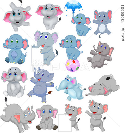 Cartoon elephants collection with different action 45089601