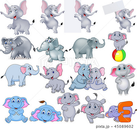Cartoon elephants collection with different action 45089602