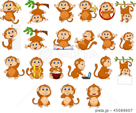Cartoon happy monkey collection with different act 45089607