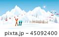スキー 持ち上げる リフトのイラスト 45092400