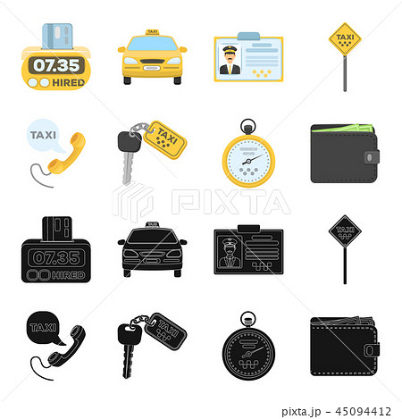 Handset with the inscription of a taxi, car keys with a key fob, a stopwatch with a fare, a purse 45094412
