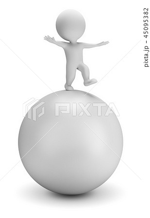 3d small people - balances on the ball 45095382
