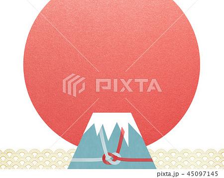 和-背景-富士山-日の出-和風-和柄-正月-年賀-水引 45097145