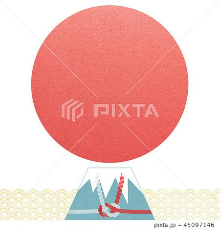 和-背景-富士山-日の出-和風-和柄-正月-年賀-水引 45097146