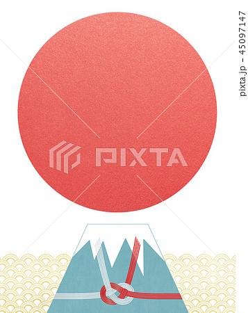 和-背景-富士山-日の出-和風-和柄-正月-年賀-水引 45097147
