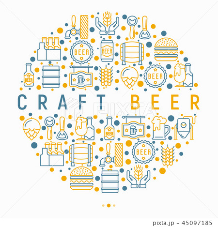 Craft beer concept in circle with thin line icons 45097185
