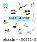 Vector Collection of Hand drawn Cute Snowman Faces 45099248