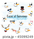 Vector Collection of Hand drawn Cute Snowman Faces 45099249