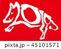 2019年賀状亥年筆文字赤色背景横位置 45101571