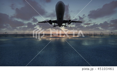 Plane takes off at sunset background in slow motion. 3D Rendering 45103461