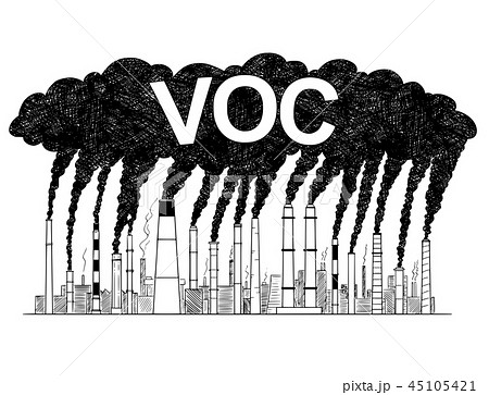 Vector Artistic Drawing Illustration of Smoking Smokestacks, Concept of Volatile Organic Compounds 45105421