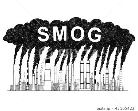 Vector Artistic Drawing Illustration of Smoking Smokestacks, Concept of Smog or Air Pollution 45105422