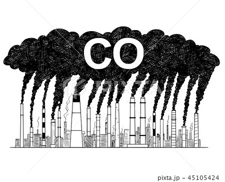 Vector Artistic Drawing Illustration of Smoking Smokestacks, Concept of Industry or Factory CO Air 45105424