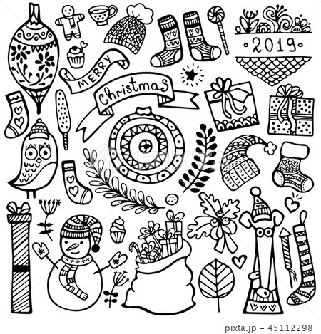 Set of cute hand-drawn Christmas elements 45112298