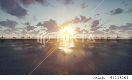 Plane takes off at sunrise or sunset background in slow motion. 3D Rendering 45118161