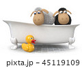 3d illustration funny sheep sitting in the bath 45119109