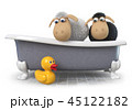 3d illustration funny sheep sitting in the bath 45122182
