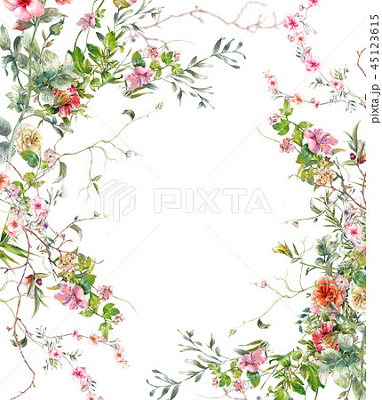 watercolor painting of leaves and flower, on white 45123615