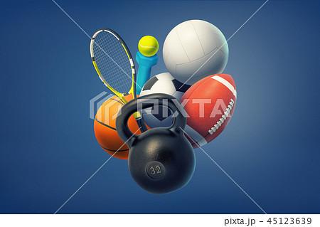 3d rendering of kettlebell, a dumbbell, balls for American football, tennis, basketball, volleyball 45123639