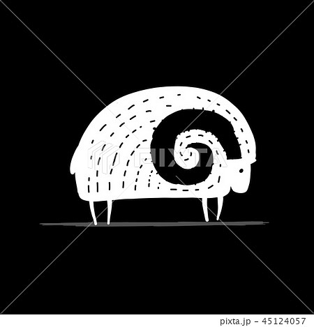 Cute ram, simple sketch for your design 45124057