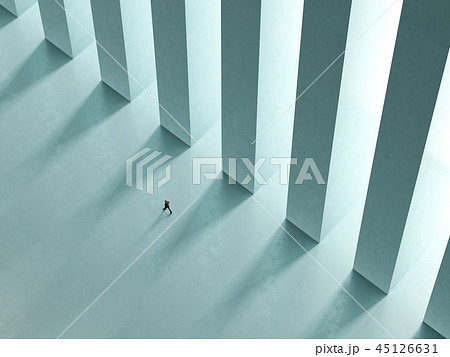 a lonely man walk the corridor with columns  45126631