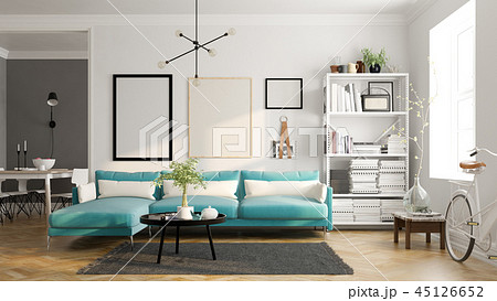 Scandinavian style interior design 3D rendering 45126652