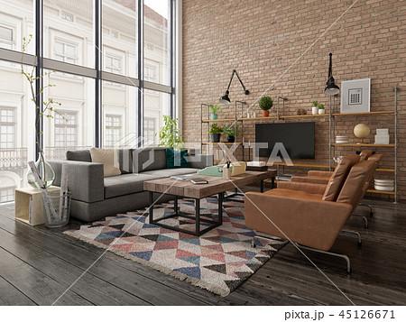 Loft style interior design 3D rendering 45126671