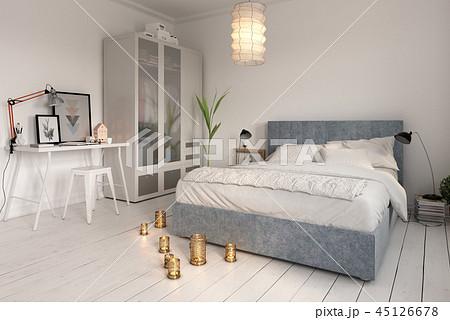 Bedroom interior design 3D rendering 45126678