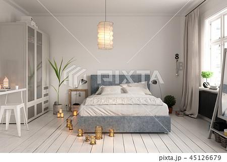 Bedroom interior design 3D rendering 45126679