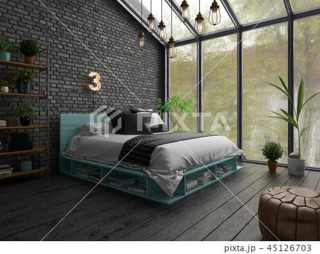 Bedroom interior design 3D rendering 45126703