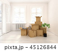 Interior with cardboard boxes for relocation 45126844