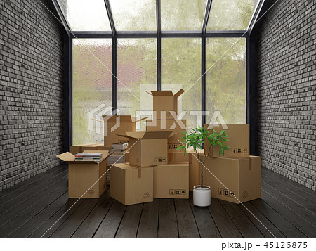 Interior with cardboard boxes for relocation 45126875