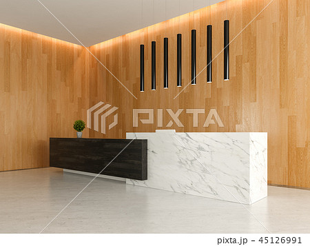 Interior of a lobby hotel reception 3D 45126991