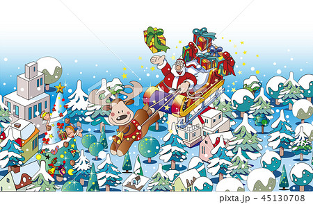 サンタクロース, クリスマス, パズル, トナカイ, そり, 雪, クリスマスツリー, もみの木, 家, プレゼント, コピースペース, 風景, 冬, イベント, かわいい, 年中行事, 飾り, オーナメント, イルミネーション, 住宅, ソリ, 雪景色, 12月, 白バック, イラスト, サンタ, 白色, 夜景, ライトアップ, 木, 贈り物, 冬景色