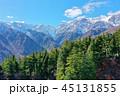 雪に覆われた白馬連山と針葉樹 45131855