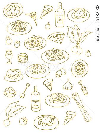 イタリア料理のハンドスケッチのイラスト素材 45132908 Pixta