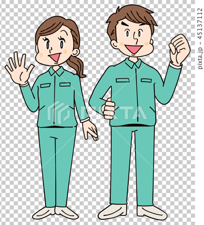 作業着を着た男女グループ 45137112