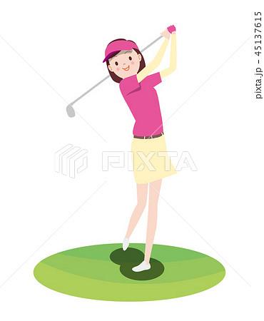 女性_ゴルファー 45137615